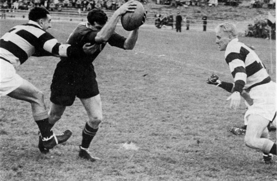 Otago winger Tuppy Diack scores a try against Wellington during the  Ranfurly Shield challenge in...