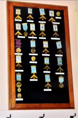 A Masonic medal board before the thefts. Photos by Gerard O'Brien.