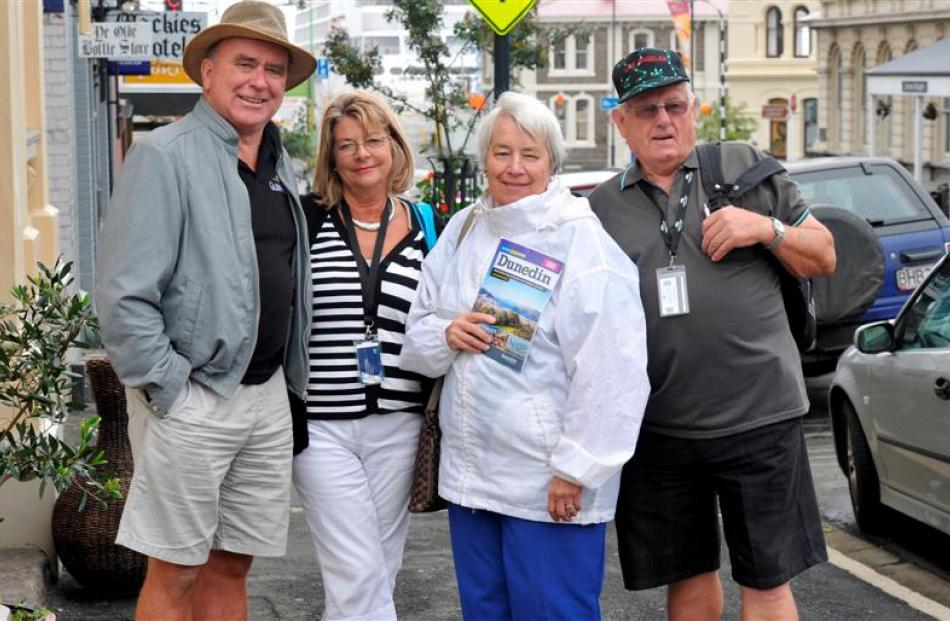 Cruise ship passengers Mike Daly, of Ireland, Joy Sinclair, of England, Dorothy and Alfons van...