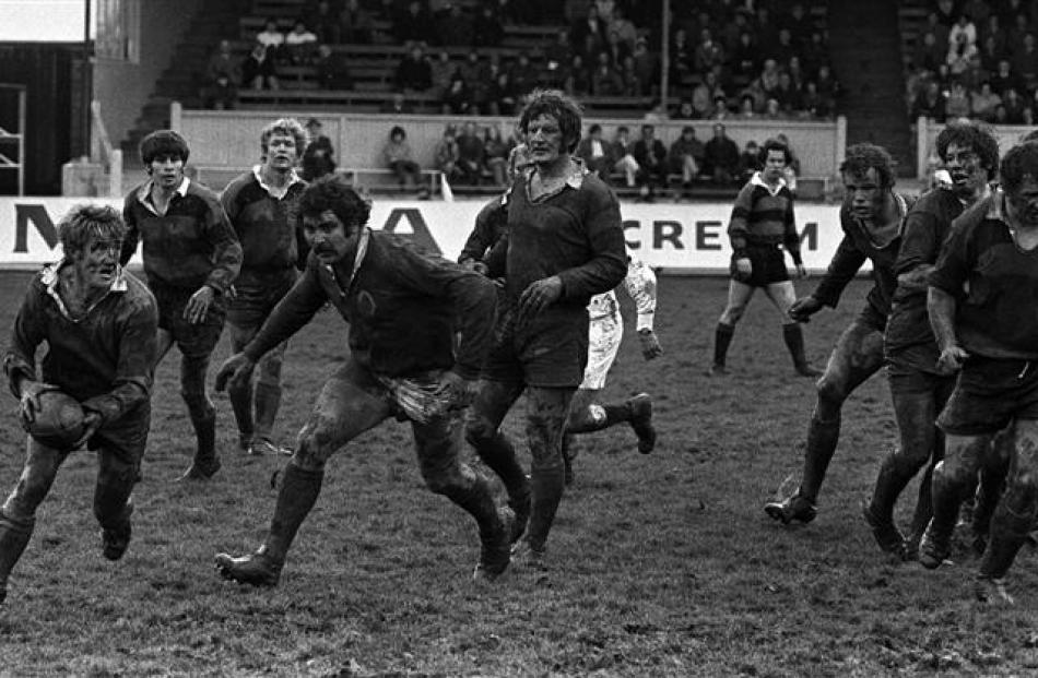 Otago prop Keith Murdoch hunts for the ball against Canterbury at Carisbrook in 1972.
