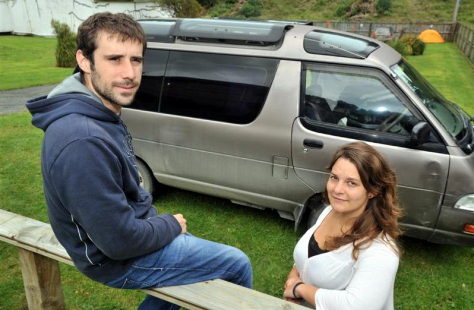 French tourists (from left) Thomas Bousnane, of Dammartin-en-Goele, and Laetitia Bricout, of...