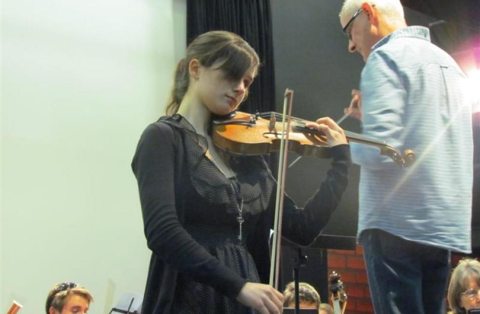 NZSO member Kate Oswin, from Wellington, beside conductor Peter Adams.  Photos by Andrew Ashton.