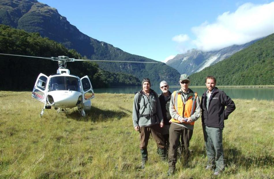 Department of Conservation staff, from left, Michele de Boulay, Richard Kennett, Richard...