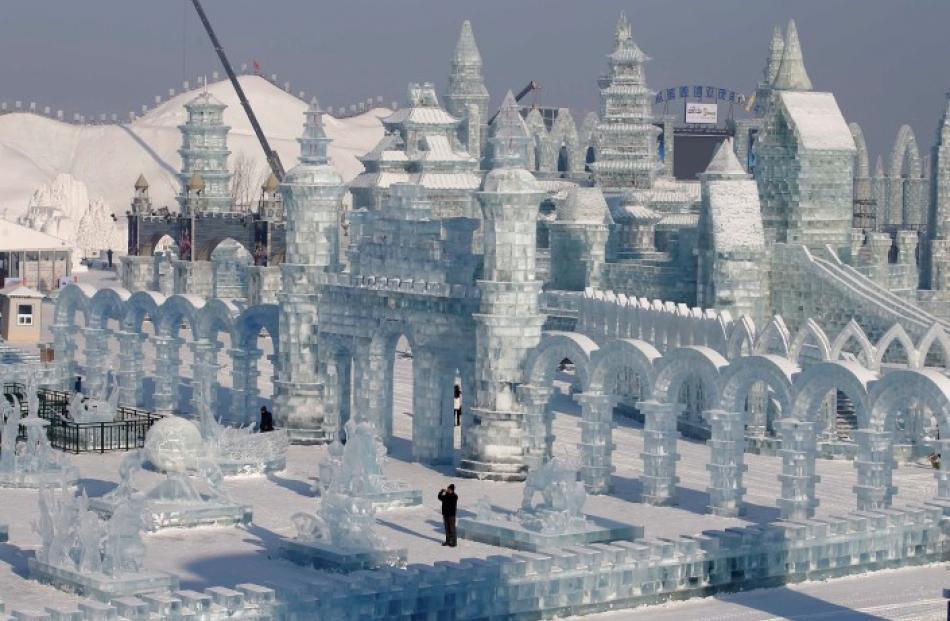 A man takes a picture of ice sculptures. REUTERS/Kim Kyung-Hoon