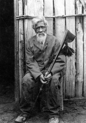 A photograph, taken in much later life, of Maori kaumatua (elder) Haimona Rakiraki, who lived...