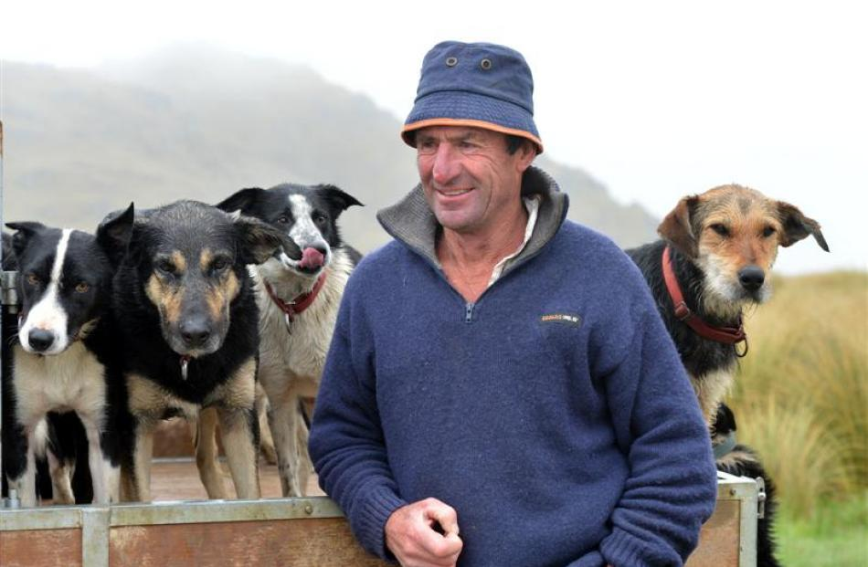 Prominent dog triallist and farmer Neville Hore with his dogs at home on Mt Alexander Station....