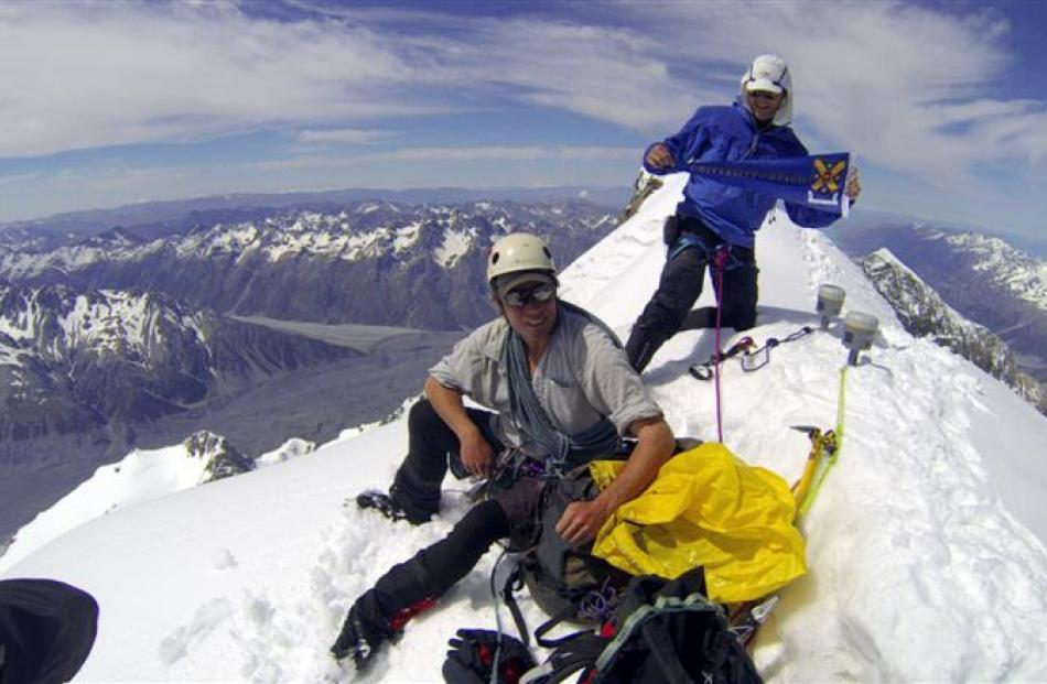 University of Otago expedition leader Dr Nicholas Cullen (left) and Otago surveying graduate Jim...