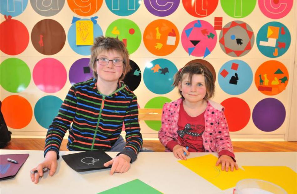 Bradley and Ellen Livingstone in the play area at the Dunedin Public Art Gallery in November....