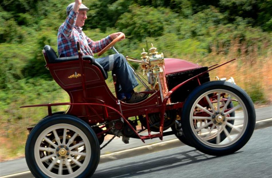 Colin Winter takes his 1900 Wolseley for a test run ahead of the 60th Dunedin to Brighton Veteran...