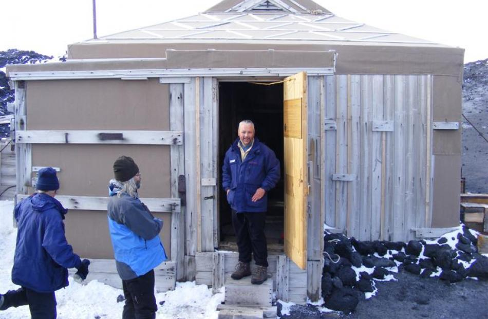 David Barnes at Shackleton's hut in the Antarctic. Photos supplied.