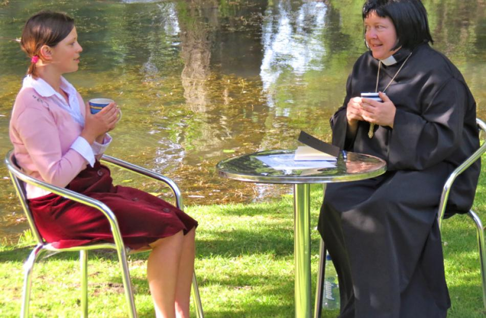 Fiona Bracken (left) and Sarah Bogle play a scene from The Vicar of Dibley.