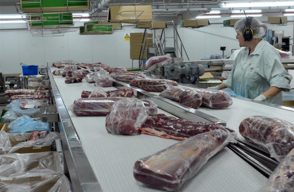 Beef cuts are packaged in preparation for export from  Finegand.