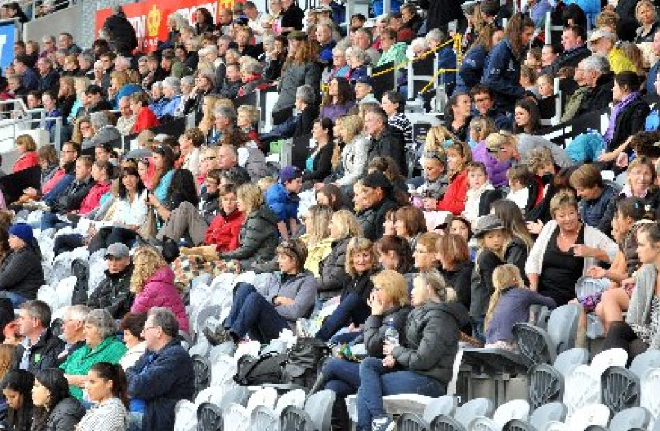The crowd watch the performances at Forsyth Barr Stadium on Saturday.
