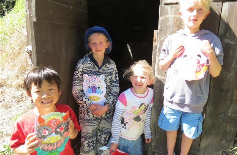 J.D. Ries (7), with Zoe  (8), Cara  (5) and Harry Waggett (6), all of Arrowtown.