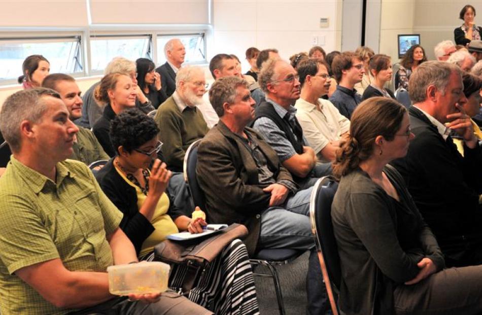 The audience listens as  Associate Prof Patricia Widener speaks at yesterday's  seminar in Dunedin.