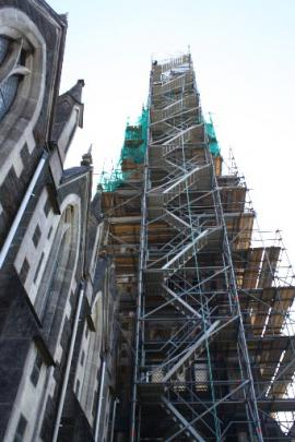 Scaffolding encases the Iona Church bell tower.