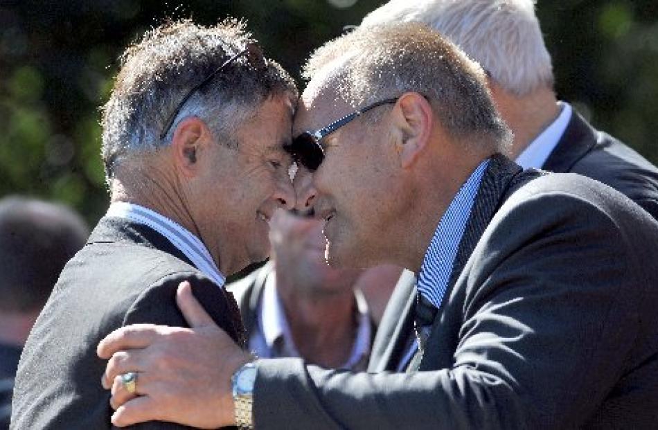 Dunedin Mayor Dave Cull and Te Runanga o Ngai Tahu kaiwhakahaere Sir Mark Solomon hongi yesterday...