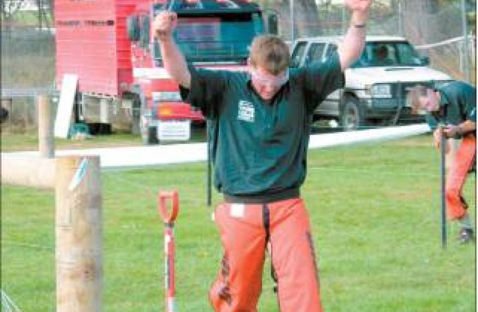 We have a winner: Otautau's Willy Buchanan ( 30 ) wins the fencing section of the competition.
