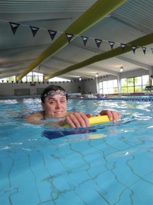 Jo Goodwin, of Lake Hawea, in the  Wanaka community pool. Photos by Mark Price.