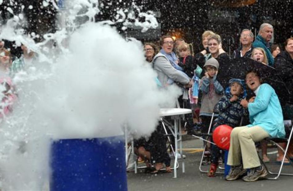 Amadeo Enriquez-Ballestero's liquid nitrogen and water volcano explodes during the 2014 Thieves'...