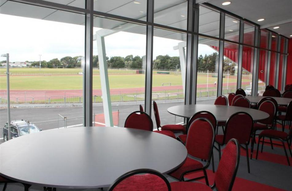 Looking from the Legends Lounge towards the Surrey Park athletics track.