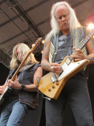 Lynyrd Skynyrd guitarists Mark Matejka (left) and Rickey Medlocke.