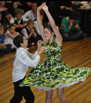 Caleb and Brittany Lay, of Invercargill, compete in the junior restricted final. Photo by Craig...