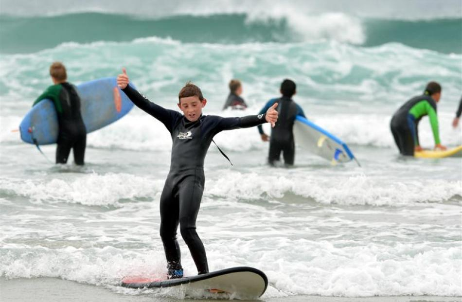 Jonnie Powell also learning to surf yesterday.