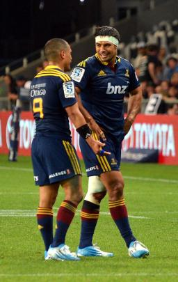 Shane Christie (right) with Aaron Smith.