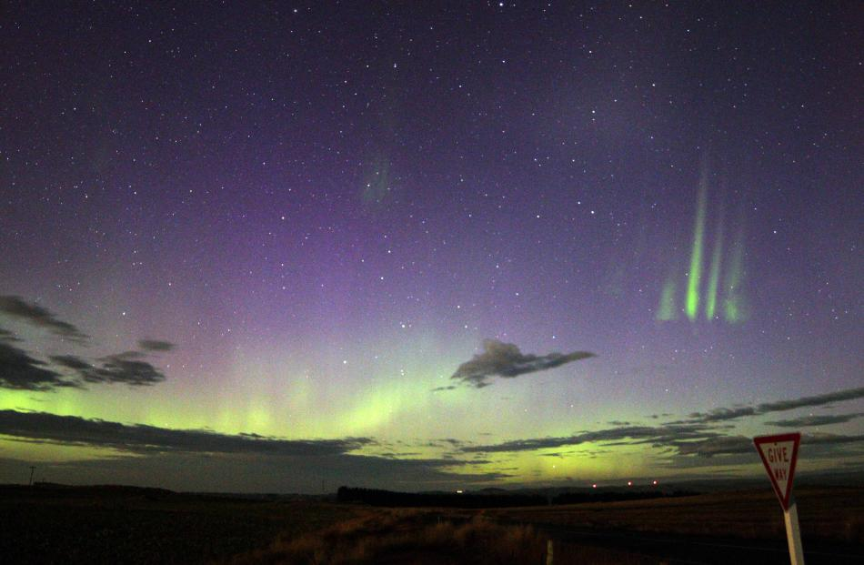 Aurora Australis lights, seen from East Taieri on Wednesday night. Photo by Dr Ian Griffin