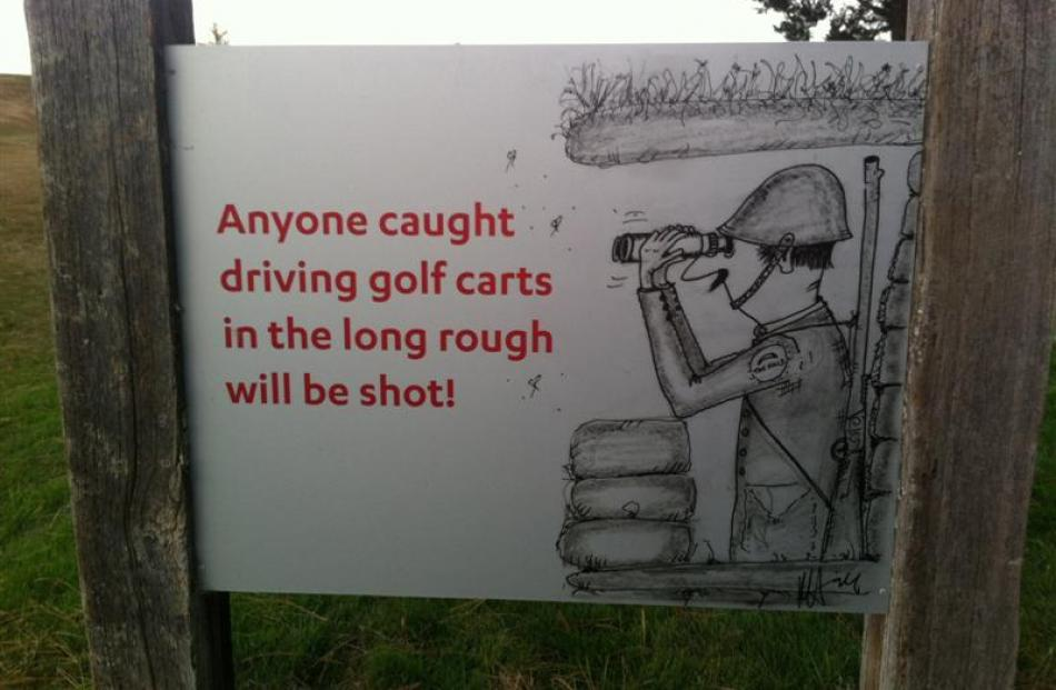 A sign at The Hills. Photo by Hayden Meikle.