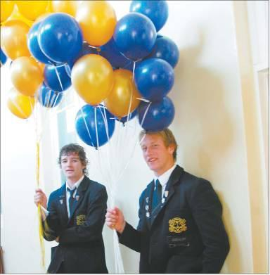 Ready to fly: Gore High School prefect Michael Black (left) and head boy Devin de Groot (both 17)...