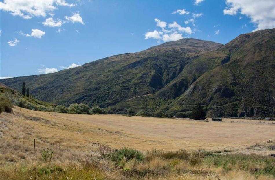 This 4ha of land owned by Gibbston Valley Station, from Tom's Creek on the left, where the yellow...