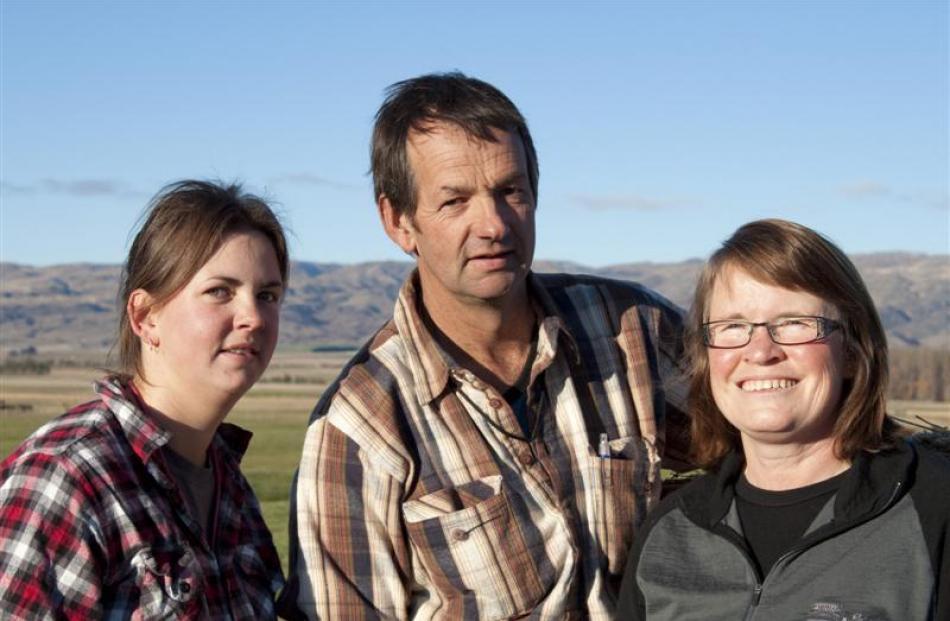 Jenna (left), Alan and Annette Williamson, who farm in Central Otago's Ida Valley.