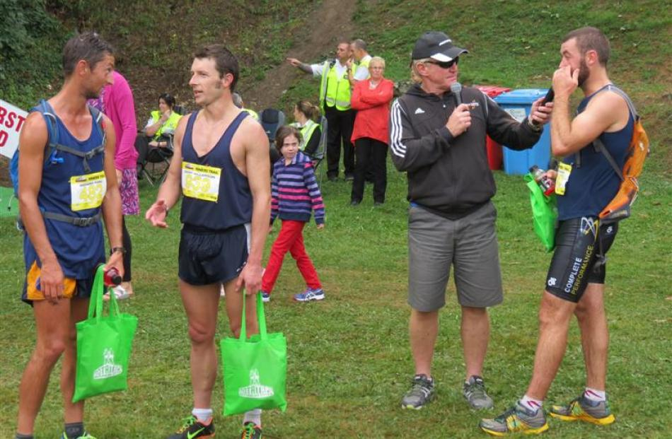 Richard Ford, of Drummond, chats with fellow Miner's Trail runner Geoff Williamson, of Dunedin,...