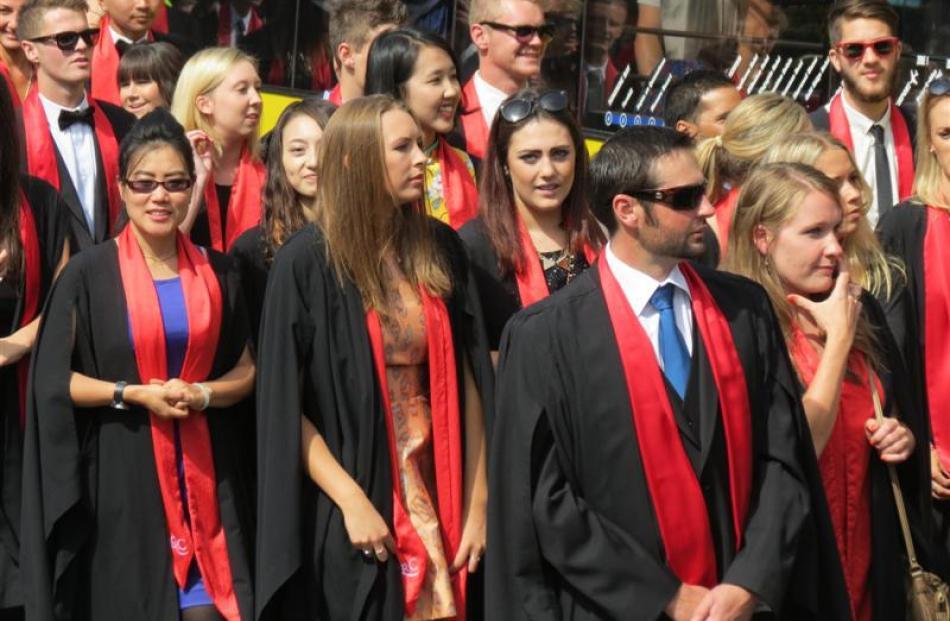 Queenstown Resort College graduands  on parade.