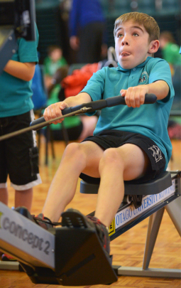 Balaclava School pupil Tobias Quigley (9) tries his hand at rowing.