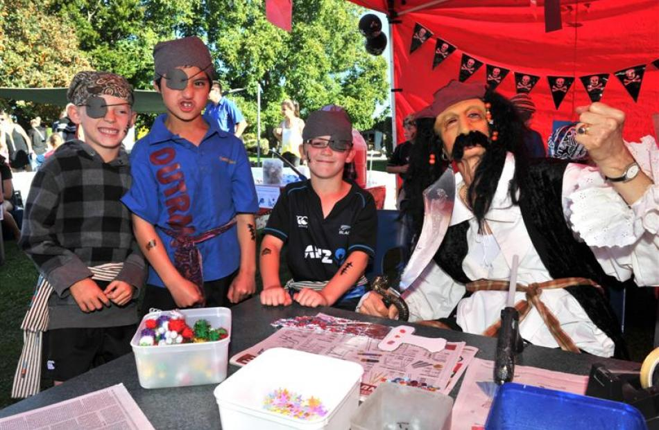 Dressed as pirates are (from left) Will Nichol (6), Reef Tamihana (7), Rylan Urquhart (8) and...