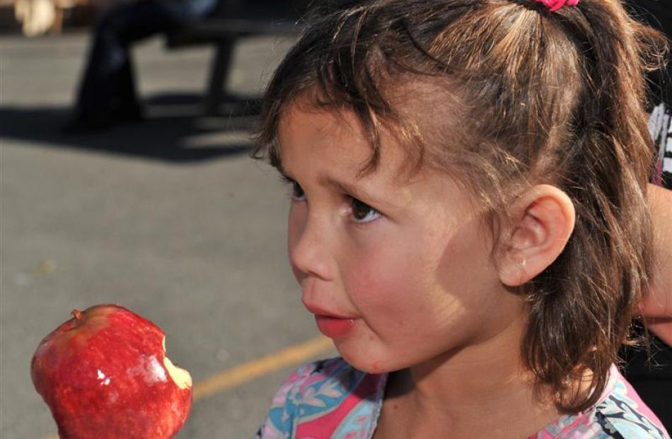 Meeya Stanley (5), of Mosgiel, enjoys a toffee apple. Photos by Linda Robertson.