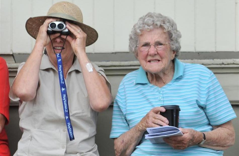 Brenda Cameron (left) and her mother Shirley Parsons, both of Portobello, try to keep tabs on the...