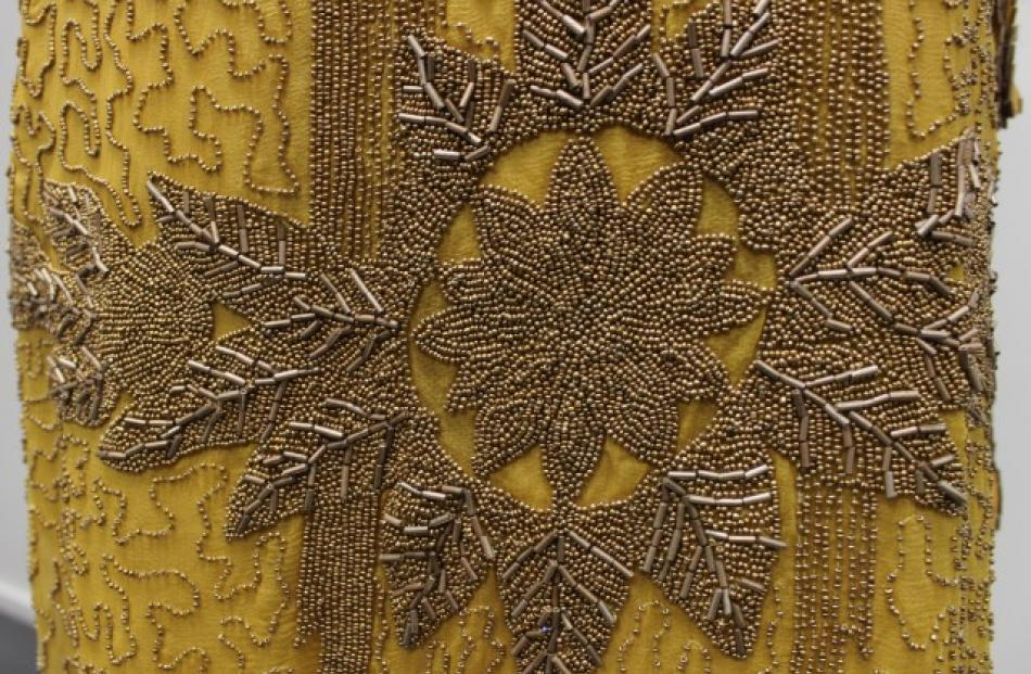 Intricate beaded detailing on the late 1920s dress.