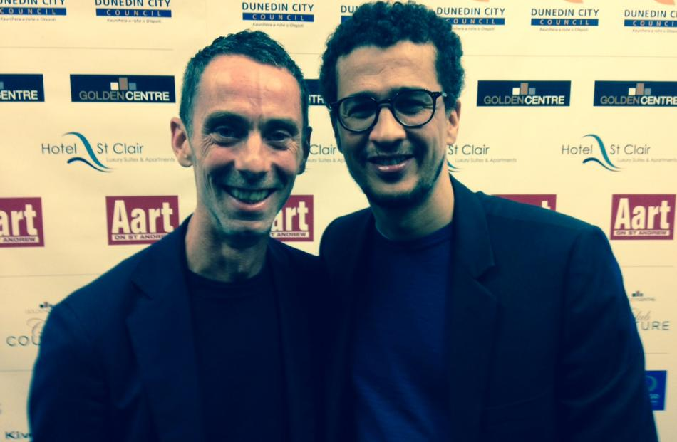 From left: international guest designer Martin Grant with partner Mustapha Khaddar. Photo by Amy...