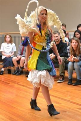 An outfit titled ''Te Aniwaniwa Manu'' (the rainbow bird) by Dunedin sustainable fashion designer...