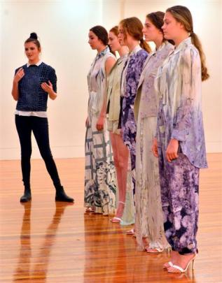 "Sydney designer Adele Thiele (23, left) explains her collection ""Kalopsia"" to iD International..."
