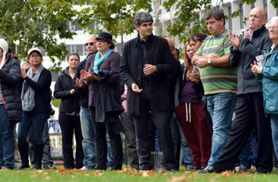 The crowd at a protest in the Octagon against synthetic cannabis. Photo by Peter McIntosh.