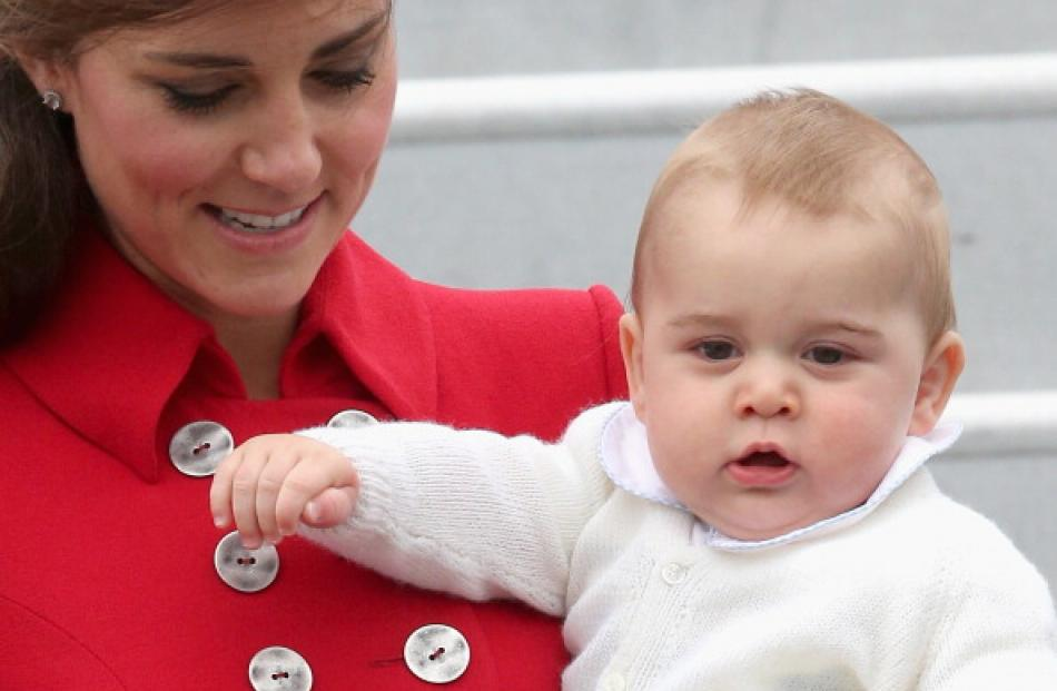 Catherine and Prince George arrive at Wellington Military Terminal.  (Photo by Chris Jackson...