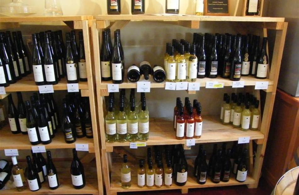 Pasquale and Kurow Village wines make an inviting display at the Kurow Winery in the Waitaki Valley.