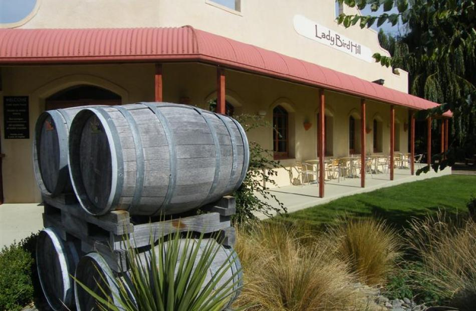 The Ladybird Hill Cafe, Restaurant and Winery complex sits in spacious grounds at Omarama.