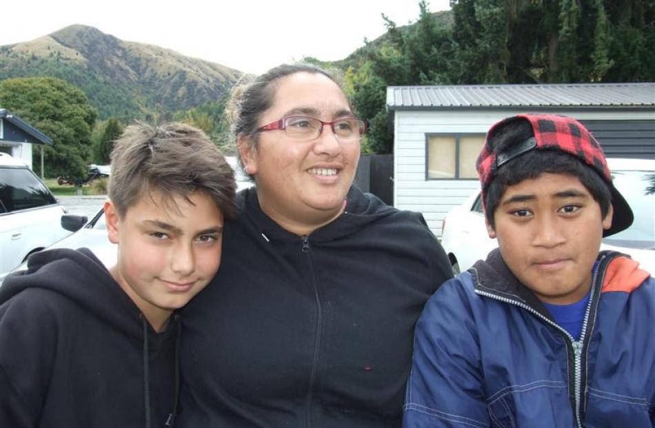 Xavier Sadler (13) and Barbara Mackie, both of Arrowtown, and Alesana Tulafono (11), of Frankton.