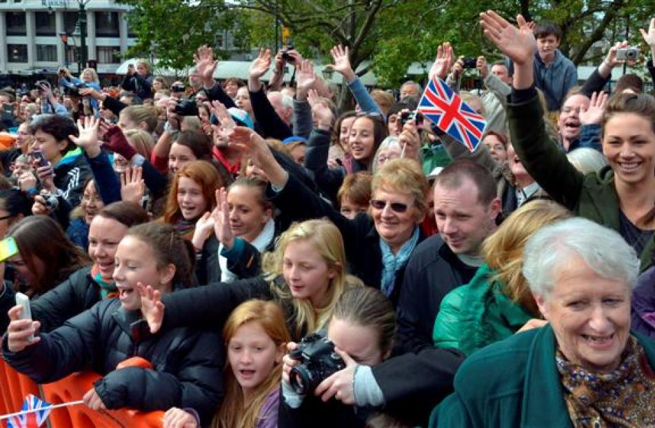 A crowd of 3500 greeted the royals in the Octagon. Photo by Gerard O'Brien